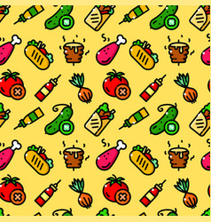 Shawarma seamless pattern vector