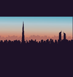 Silhouette of burj khalifa city building vector