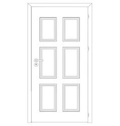 Sketch of closed wire-frame door vector