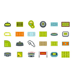 sport arena icon set flat style vector image