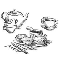 Tea and scones vector image vector image