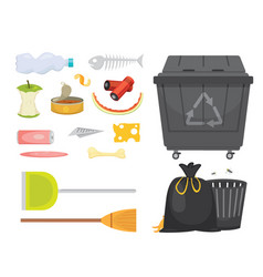 trash and garbage set in cartoon vector image vector image