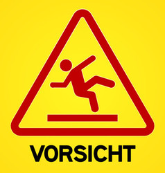 Yellow and red vorsicht symbol vector
