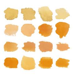Yellow blots watercolor set vector