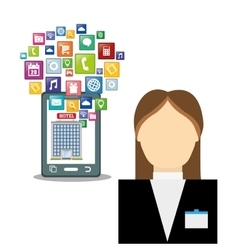 Smartphone receptionist and hotel with digital vector