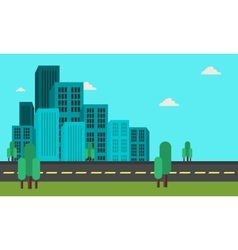 Many building landscape of flat vector