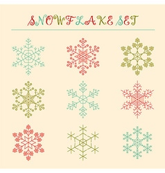 Snowflake icon set vintage outline version vector