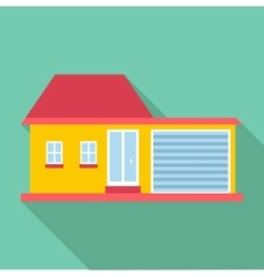 Big house with garage icon flat style vector