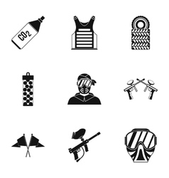 Shooting paintball icons set simple style vector
