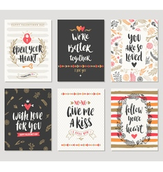 Valentines day hand drawn greeting card set vector