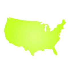Green radial gradient silhouette map of united vector