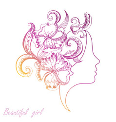 Beautiful girl face with filigree ornate vector