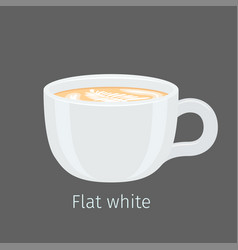 Flat white coffee with latte art on foam vector