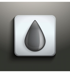 Ink button with black drop vector