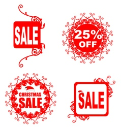 Christmas sale tag with floral pattern vector