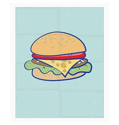 Cartoon cheeseburger on a poster vector