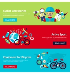 Bicycle flat banner set vector