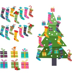 Stylized santa socks gifts and christmas tree on vector