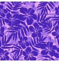 Purple tropical flowers silhouettes seamless vector