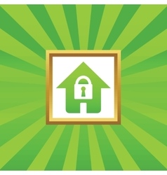 Locked house picture icon vector