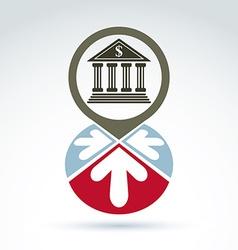 Bank building with arrows icon conceptual symbol vector image