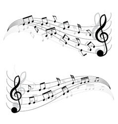 Two little black musical notes on moving chords vector