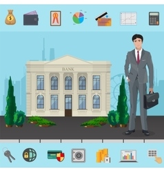 Bank manager near bank building with modern vector