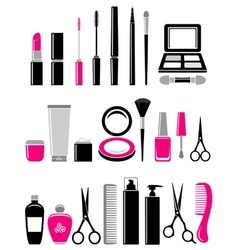 beauty set of cosmetics icon vector image