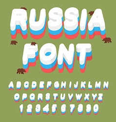 Russian font russian flag on letters national vector