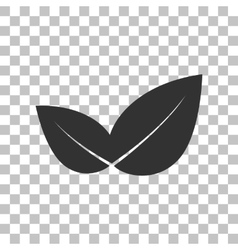 Leaf sign  dark gray icon on vector