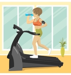 Woman at gym doing exercise on treadmill vector