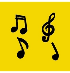 Set of Hand-drawn music notes on yellow vector image