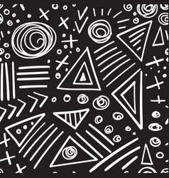 abstract marker white lines on black background vector image vector image