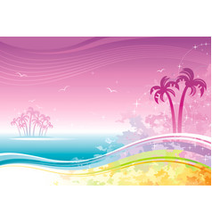 Beach sea poster landscape hawaiian luau party vector