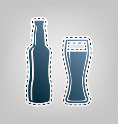 Beer bottle sign blue icon with outline vector