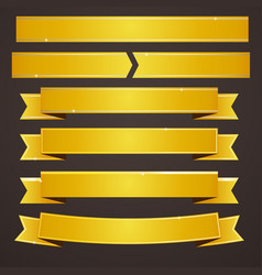 collection set of gold ribbons banners vector image vector image