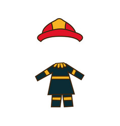 Colorful caricature firefighters costume vector