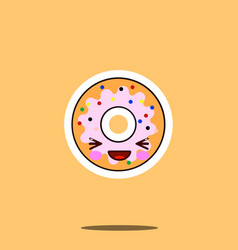 cute doughnut cartoon character happy smile kawaii vector image