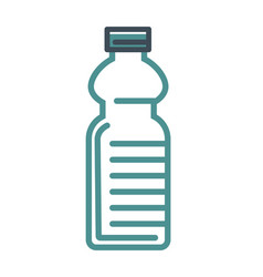 Empty water bottle with cap isolated flat outline vector