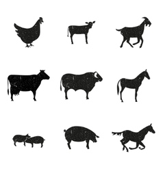 Farm animals silhouette vector image