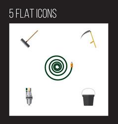 Flat icon dacha set of harrow pail pump and vector