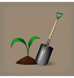 Garden spade and sprout vector image vector image