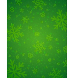 Green background with blurred snowflakes vector image vector image