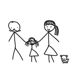 Hand line drawing of a family parents father vector image