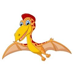 Happy pterodactyl cartoon vector
