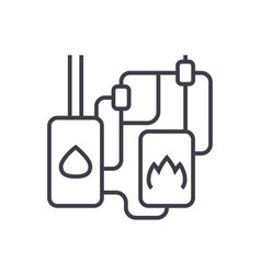 heating system line icon sign vector image