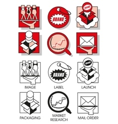 Line icons set with of marketing and distribution vector