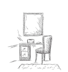 Make up vanity table and folding chair sketch vector