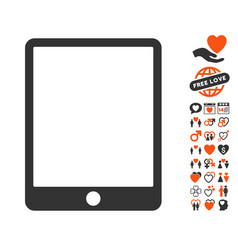 mobile tablet icon with lovely bonus vector image