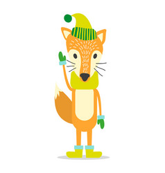 Red fox in warm hat cozy scarf and wool mittens vector